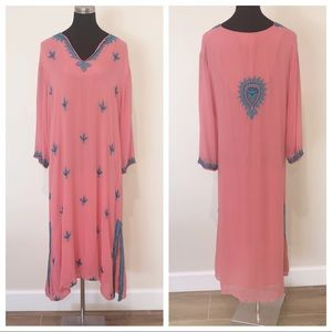 Soft Surroundings Coral Embroidered Midi Dress XL